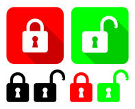 Open And Close Padlocks. Vector Illustration Of Open And Close Padlocks With Their Variations Royalty Free Stock Photos
