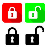 Open And Close Padlocks. Vector Illustration Of  With Their Variations Royalty Free Stock Photography