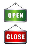 Open close sign board. In white background eps Stock Photos