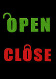 Open close sign board. In black background Stock Photography