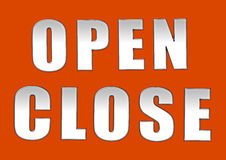 Open close sign board. In orange background Royalty Free Stock Photography