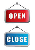 Open close sign board Stock Photo