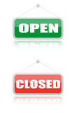 Open and close signboard of shops. Open and close signboard with reflection on with background Stock Images