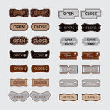 Open, close tags. Vector set of input labels for cafes, stores, salons of various forms Royalty Free Stock Photo