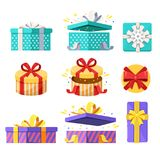 Open, close and top view gift boxes. Vector flat icons set. Present and surprise holiday illustration vector illustration