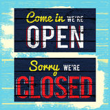 Open and close wood paint sign Royalty Free Stock Photo
