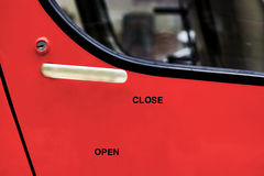 """open and close"" wrote font on door Royalty Free Stock Photos"