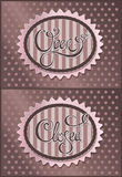 Open Closed. Vintage calligraphical lettering Open Closed Royalty Free Stock Images