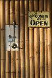 Open closed bamboo door background Stock Photo