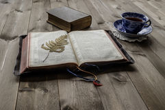 Open and closed Bibles with cup of tea. Peaceful religious scene of open and closed vinatge Bibles on wooden table with cup and saucer of tea. Non trademark stock photography