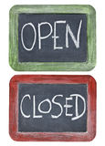 Open and closed on blackboard Royalty Free Stock Images