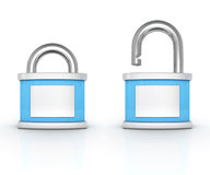 Open and closed blue padlocks on white background. 3d Royalty Free Stock Images