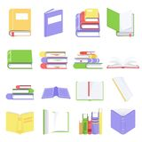 Open and closed books with blank pages. Collection of books and reading documents. Textbooks in colorful covers with stock illustration