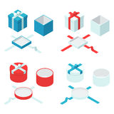 Open and closed box. Colorful present and gift boxes with ribbon bows. Open and closed box sign set. Vector flat isometric illustration isolated on white Stock Photography