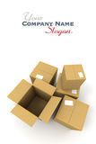 Open and closed cartons Royalty Free Stock Photo