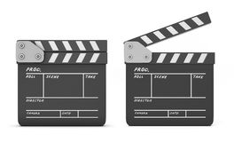 Open and closed clapboards  on a white Stock Photos