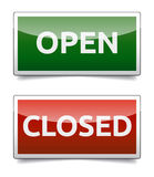 OPEN - CLOSED color board. With shadow on white background Stock Image