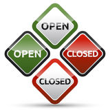 OPEN - CLOSED color board. With shadow on white background Stock Images
