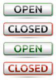 OPEN - CLOSED color board. With shadow on white background Royalty Free Stock Photos