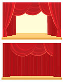 Open and closed the curtain. Open and closed the red curtain Vector Illustration