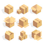 Open and closed delivery cardboard icons set vector illustration stock illustration