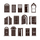 Open and closed door black vector icons set. Entrance to home or doorway to office illustration Stock Photos