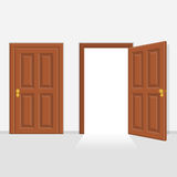 Open and closed door house front. vector illustration