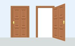 Open and closed door house front. Wooden open entry with shining. Light. Vector illustration vector illustration