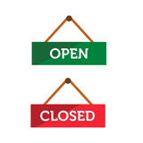 Open and Closed door sign. Illustration of open and closed door sign stock illustration