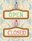 Open And Closed Door Signs Board embroidery effect Royalty Free Stock Photography