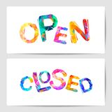 Open, closed - Door signs. Еriangular letters. Open, closed. Door signs. Vector triangular letters Stock Images
