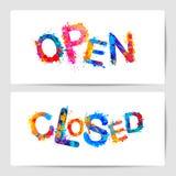Open, closed. Door signs. Splash paint letters. Open, closed. Door signs. Vector splash paint letters Royalty Free Stock Photo