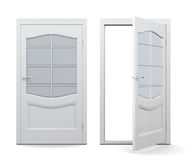 Open and closed door on white background. 3d render ima. Ge. Door with decorative elements, with glass inserts vector illustration