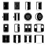 Open and closed doors icons set. Isolated vector illustration Stock Images