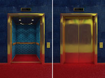 Open and closed elevator. Two images of a luxurious elevator with opened and closed doors Stock Photography