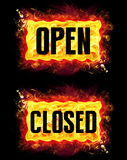 Open Closed Fire Banners. Open closed fire badges with burning flames Royalty Free Stock Photo