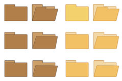 Open and closed folder collection. Set of isolated 6 x 2 icons of open and closed folder in 2 different colors Stock Photos