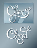 Open Closed on glass board. Signs Open Closed on glass board Royalty Free Stock Images