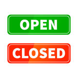 Open and closed glossy signs for shop door isolated on white Royalty Free Stock Photo