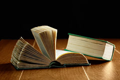 Open and closed green books Royalty Free Stock Photography