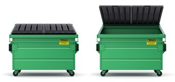 Open and closed green dumpster Royalty Free Stock Photography