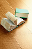 Open and closed green old books Royalty Free Stock Image