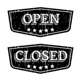 Open and Closed. Grunge  Signs Royalty Free Stock Photos