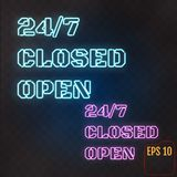 Open, Closed,  24/7 Hours Neon Light on Brick Wall. 24 Hours Nig. Ht Club / Bar Neon Sign. Vector Illustration Royalty Free Stock Images
