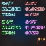 Open, Closed, 24/7 Hours Neon Light on Brick Wall. 24 Hours Nigh. T Club / Bar Neon Sign. Vector Illustration Stock Photos