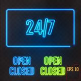 Open, Closed, 24/7 Hours Neon Light on transparent background. 2 Stock Photos