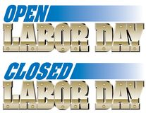 Open and Closed Labor Day Stock Images