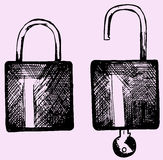Open and closed lock Stock Photos