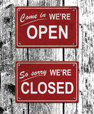 Open and closed metal signs royalty free stock image