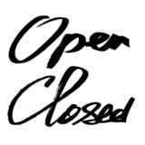 Open, Closed - ink lettering royalty free stock photo